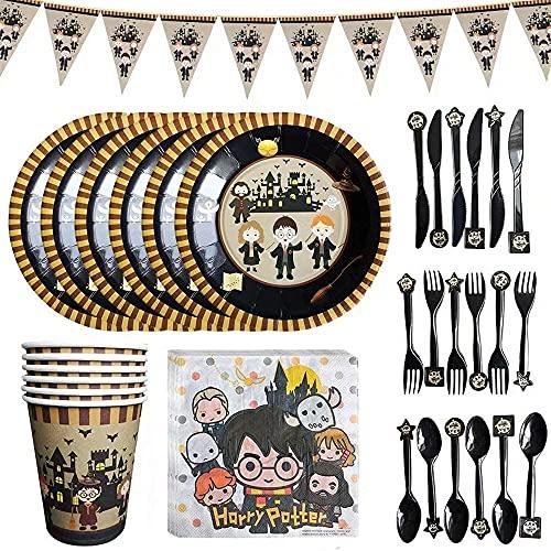 41PCS vajilla de la fiesta de cumpleaños juego de tazas y platos de papel toallas de papel banderas cuchillas horquillas cucharas para la fiesta de cumpleaños de los niños artículos de decoración