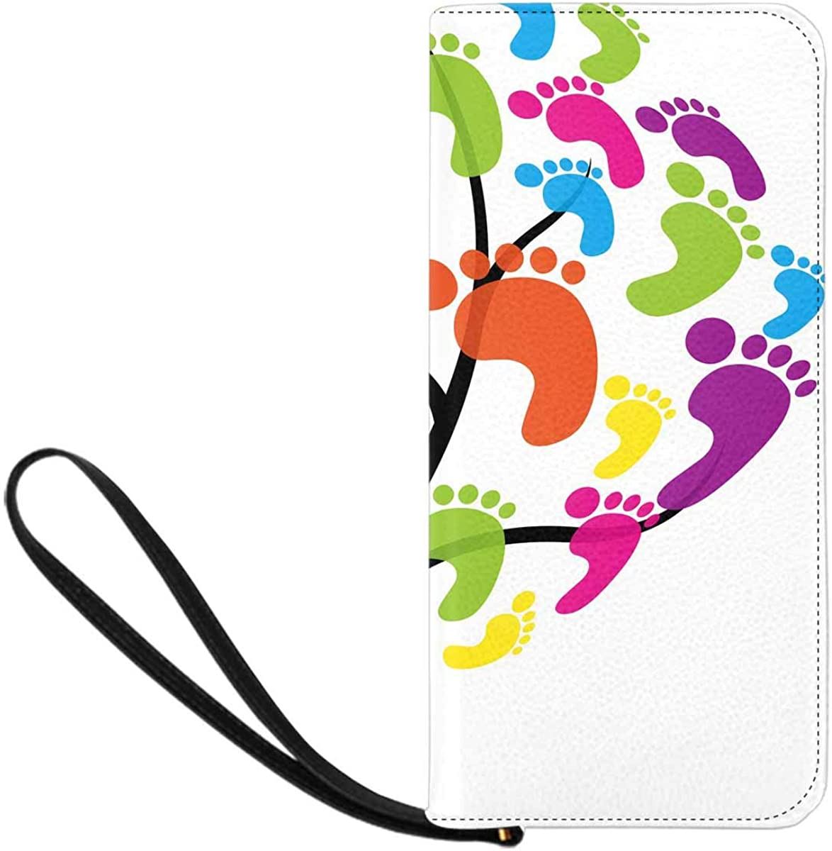 INTERESTPRINT Foot Paw Print Tree Wristlet Clutch Large Travel Purse Wristlet