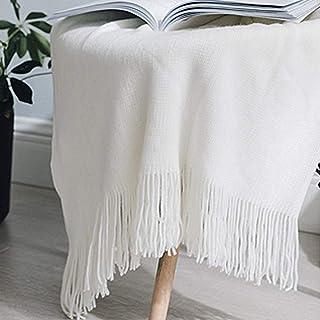 WENYAO Manta de Borla de Punto/Manta pequeña, Verano Simple Moderno Color sólido Sofá de Oficina Individual Delgado Aire Acondicionado Manta Siesta Alfombra Dormitorio, Blanco-130x170cm