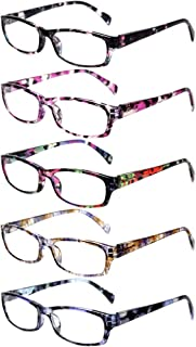 Reading Glasses 5 Pairs Stylish Color Readers Fashion Glasses for Reading Men & Women