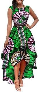 Womens African Print High Low Dashiki Dress Maxi Sleeveless Summer Party Dress