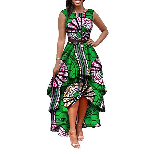 5d0ebc1e4add Womens African Print High Low Dashiki Dress Maxi Sleeveless Summer Party  Dress