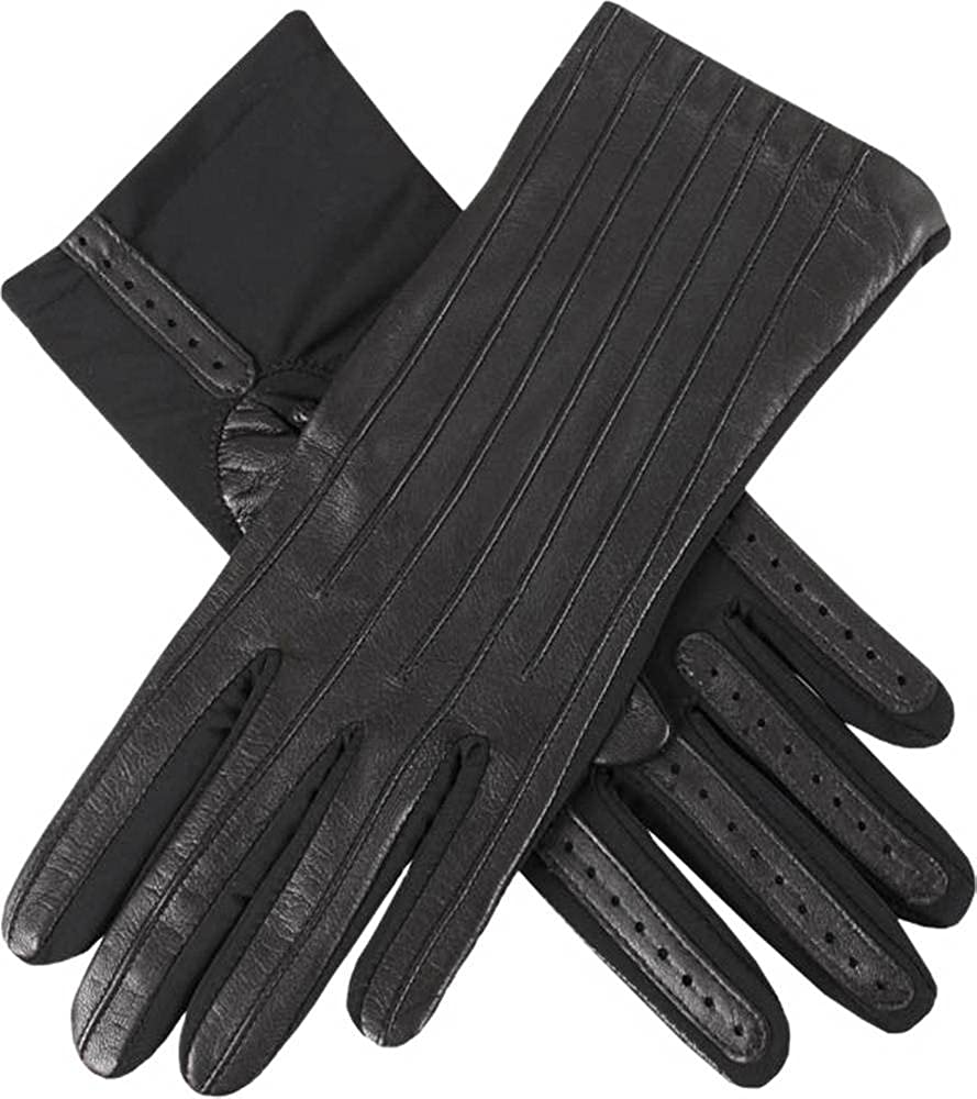 Dents Womens Olivia Half Silk Lined Hairsheep Leather and Elastane Gloves - Black