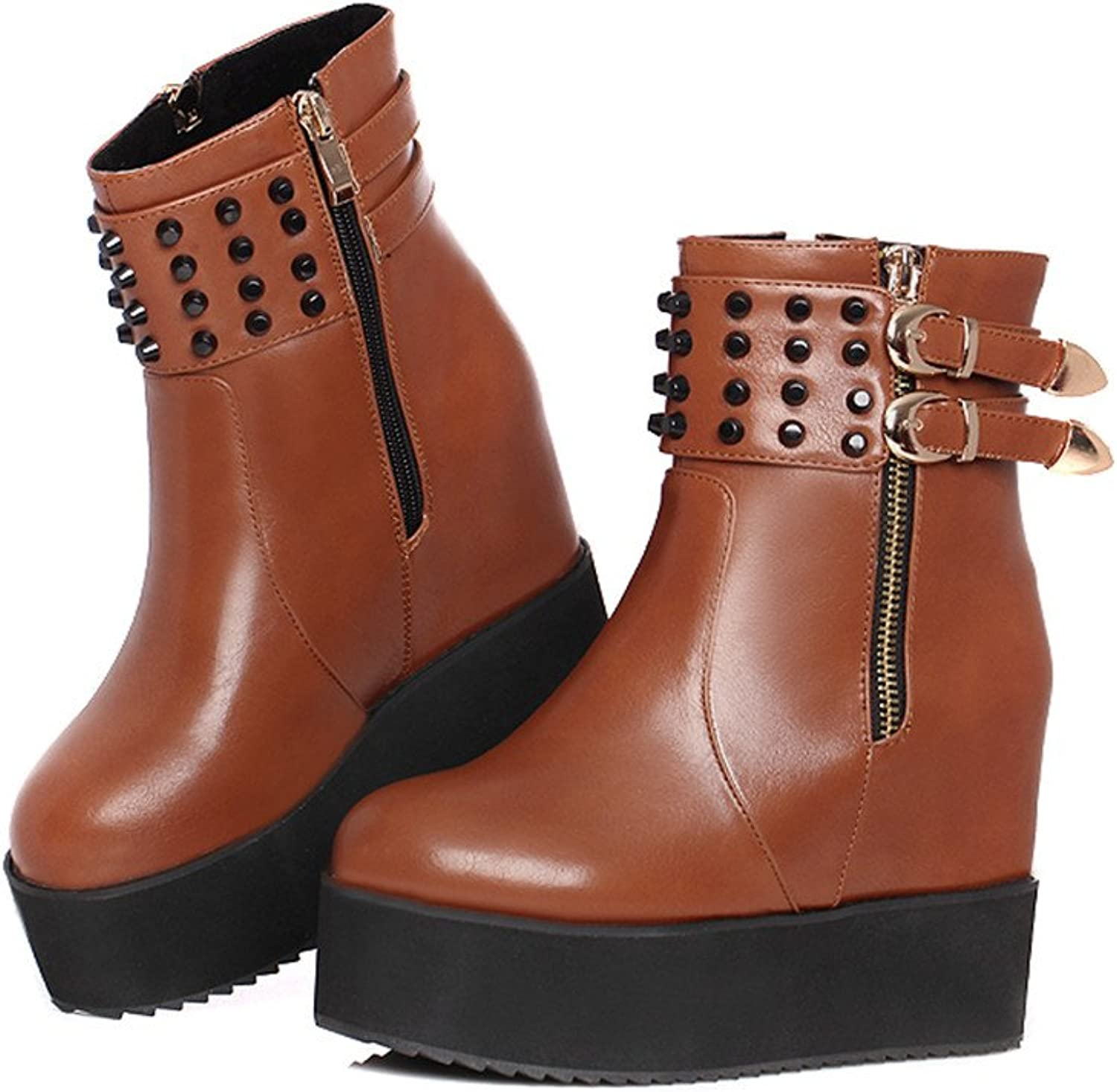 Fashion Heel Womens Inner Wedge Heel Round Toe Platform Studded Ankle Boot