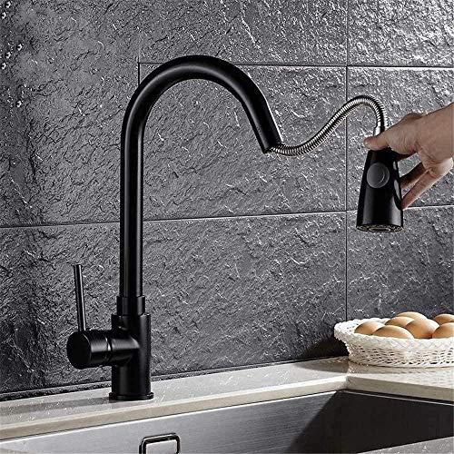 Waterkraan keukenuittrekbaar Dual Mode Outlet wastafel wastafel wastafel warm en koud roterende zwarte kraan