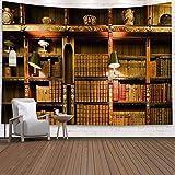 Biblioteca de madera vintage tapiz sala de estudio tapiz de escena lleno de libros antiguos estantería clásica tapiz tela de fondo a4 130x150cm