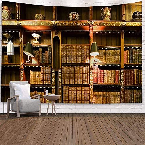 Tapiz de biblioteca de madera vintage sala de estudio tapiz de escena lleno de libros antiguos estantería clásica tapiz de fondo tela a4 180x200cm