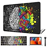 VAESIDA for MacBook Pro 13 Inch Case Left Brain and Right Brain Mac Cover & Printing Keyboard Cover & Screen Protector ONLY for 2016-2019 Pro 13 (Model A2159/A1706/A1708/A1989), Black Left&Right Brain