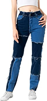 EYESHOCK Women's Stretch Patchwork Jeans (various sizes/colors)