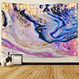 Likiyol Marble Tapestry, Gradient Marble Tapestries Pink Purple Gold Tapestries Psychedelic Natural Landscape Ocean Tapestry Wall Hanging for Room