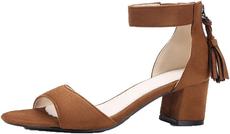AllhqFashion Women's Peep-Toe Kitten-Heels Frosted Solid Zipper Sandals