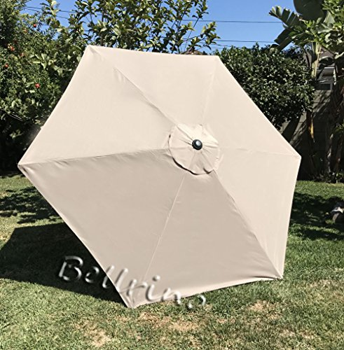 BELLRINO DECOR Replacement Strong & Thick Umbrella Canopy for 9ft 6 Ribs (Canopy Only) (Light Coffee)