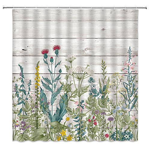 MNSC Vintage Herb Shower Curtain Rustic Floral Border Herbs Wood Plank Wild Flowers Botanical Colorful Field Vegetation Retro Plants Green Leaves Decor Fabric Bathroom Curtain 70x70Inch with Hooks