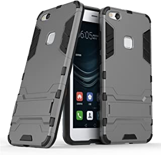 Case for Huawei P10 Lite (5.2 inch) 2 in 1 Shockproof with Kickstand Feature Hybrid Dual Layer Armor Defender Protective Cover (Grey)