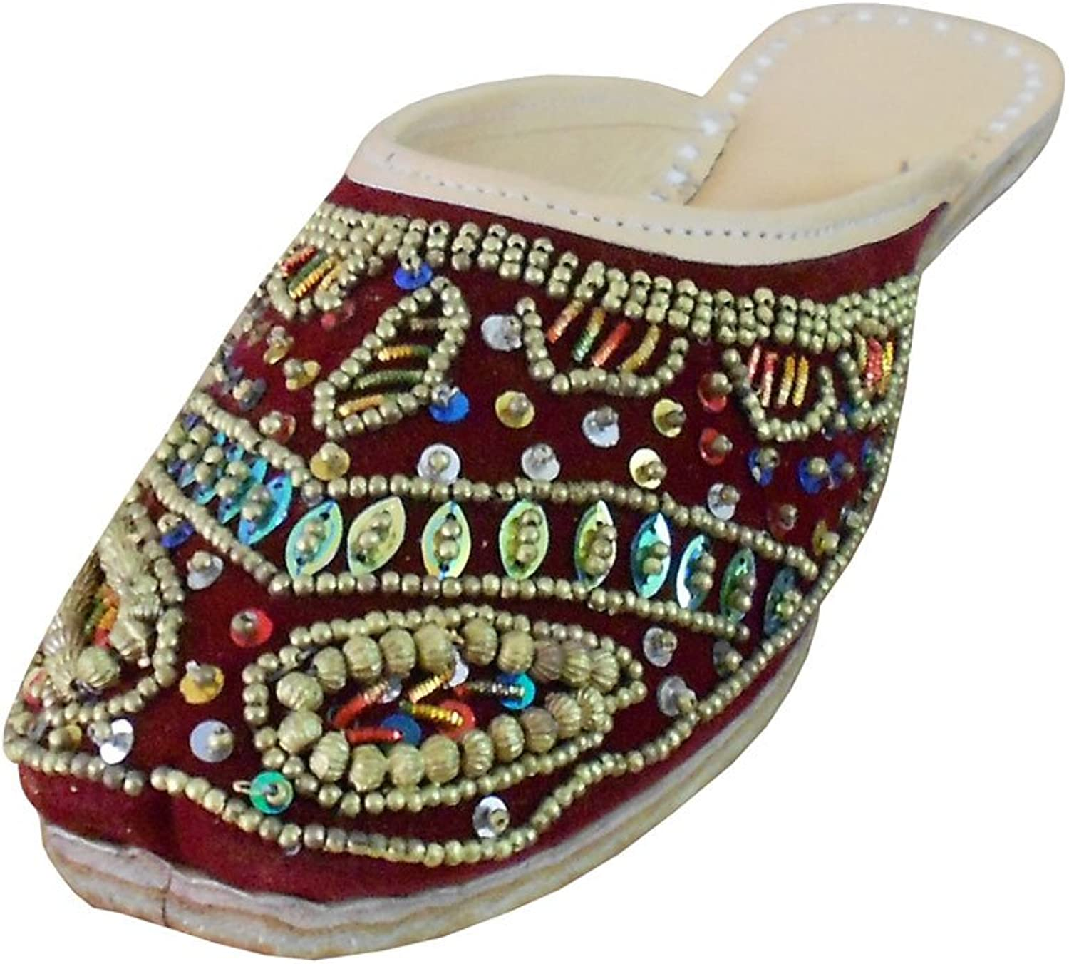 Kalra Creations Women's Traditional Velvet with Sequence Work Slippers Ethnic Flats