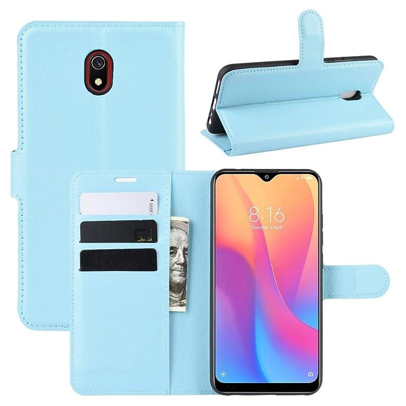 第撤回する社員財布&ホルダー&カードスロットを持つ小米科技Redmi 8Aライチテクスチャ水平フリップレザーケースのための携帯電話ケース brand:TONWIN (Color : Blue)