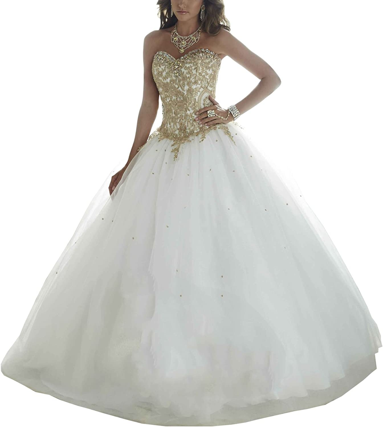 Epinkbridal gold Embroidery Ball Gown Quinceanera Dresses Women's Wedding Dresses