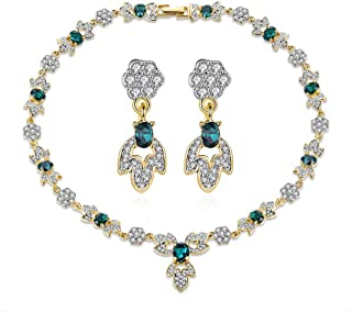 Italina Jewelry Necklace Set For Women Gold Plated for Girls Girlfriend(Earrings + 44cm Necklace)