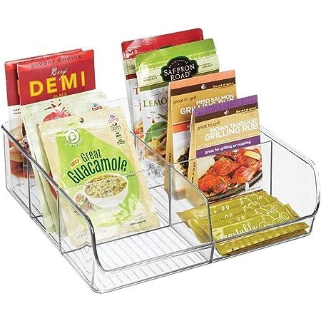 mDesign boite de rangement empilable – panier de rangement en plastique à 6 compartiments pour la cuisine – rangement de cuisine moderne pour soupes en sachets, épices, thé, etc. – transparent