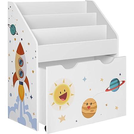 SONGMICS Estantería de Juguetes con 3 Compartimentos, Librería Infantil, Caja de Juguetes Móvil, con Ruedas, Multifuncional, para Habitación de los ...