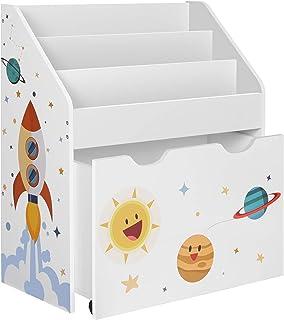 SONGMICS Étagère pour Jouets, 3 Compartiments Bibliothèque pour Enfants, Boîte à Jouets Mobile, avec roulettes, Multi-Usag...