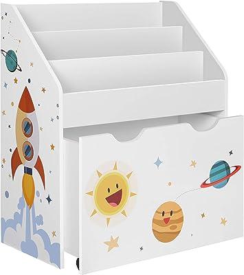 SONGMICS Étagère pour Jouets, 3 Compartiments Bibliothèque pour Enfants, Boîte à Jouets Mobile, avec roulettes, Multi-Usage, pour Chambre d'enfant et Salle de Jeux, Blanc GKR41WT