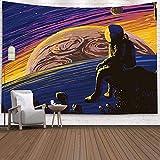 Brandless Universo Tapiz Espacial Astronauta Colgante de Pared Luna Astronauta Dormitorio Sala de Estar Dormitorio Decoración de la Pared (150x130cm)