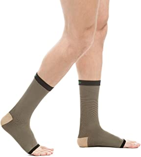 EvoMotion USA Made Copper Compression Ankle Sleeves - Men and Women Foot Brace - Wear for Support and Recovery of Plantar Fasciitis,  Heel Spur,  Achilles,  Arch 1 Pair (Small,  Black Copper)