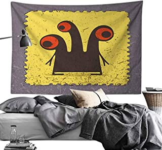 Custom Wall Tapestry Abstract,Trippy Creature Heads and Large Eyes on Yellow Stamp Figure Illustration, Warm Taupe Yellow,for Dorm Room,Bedroom,Living Room Decorations 70