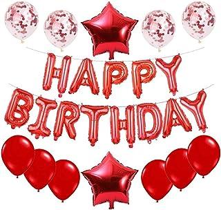 Haimimall Red Happy Birthday Balloons Set -13pcs Letters Balloons 2pcs Giant Star Foil Balloons 4pcs Confetti Balloons 11p...