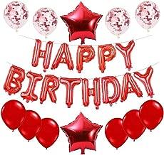 Haimimall Red Happy Birthday Balloons Set -13pcs Letters Balloons 2pcs Giant Star Foil Balloons 4pcs Confetti Balloons 11pcs Latex Balloons Birthday Party Decorations and Supplies Balloons