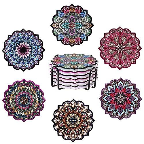 ROYAL TREE Posavasos, vasos, posavasos de cerámica con base de corcho, posavasos para bebidas, flores mandala, incluye soporte de metal y caja, 6 unidades