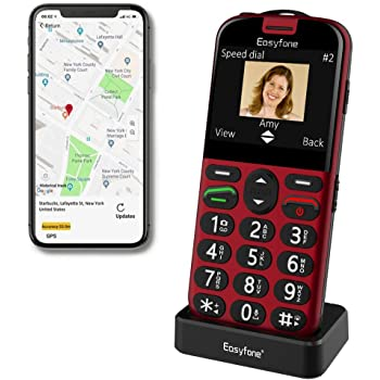 Easyfone Prime-A4 GPS Localisation Unlocked Smart Senior Cell Phone, Big Button Hearing Aids Compatible Easy-to-Use Mobile Phone with Charging Dock (Red)