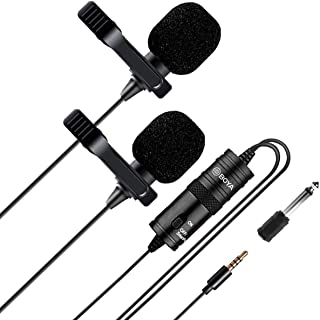 Lavalier Mic, Boya BY-M1DM Lavelier Lapel Mic with Clip, 3.5mm Omni-Directional Mic with Windscreen, Work with iPhone, Android Phone, DSLR for Vlog,Podcast, Interview etc