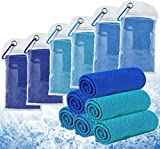 6 Pièces Serviette de Refroidissement Bleu Serviettes de Sport en Microfibre Soulagez Les bouffées de Chaleur, pour Yoga, Cyclisme, Randonnée, Golf, Football, Chouchou de la saision (100x30cm)