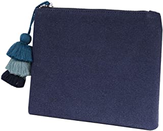 Small Clutch Purse Handbag Bag for Women Vegan Faux Suede Casual Pouch with Tassel Accent