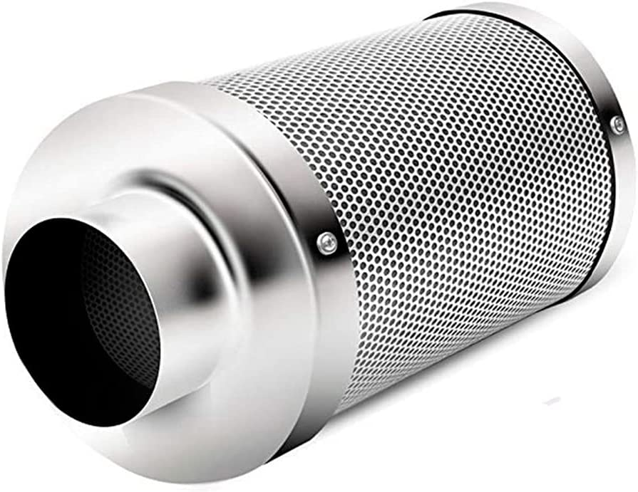 Yousiju Purificador de aire de plantación de 4 `` 6 '' con filtro de carbón de carbón activado de 38 mm para ventilador en línea Ventilación de escape de tienda de cultivo hidropónico