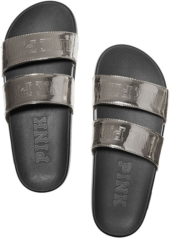 Victoria's Secret Pink Double Strap Slide Sandals Silver Gunmetal - Small 5 6