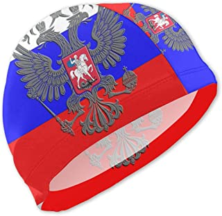 Onlyouder Russian Flag Russian Coat of Arms Swim Caps for Kids Boys and Girls Baby Bathing Caps for Long and Short Hair