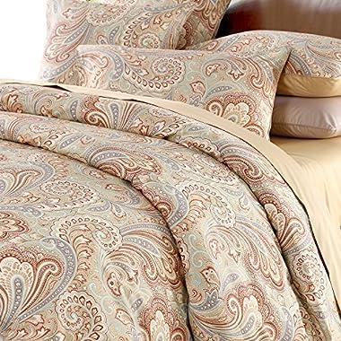 Softta Luxury Paisley Bedding Design 800 Thread Count 100% Cotton 3Pcs Duvet Cover Set,King Size,Khaki
