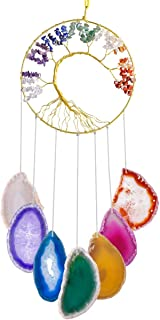 SUNYIK Tree of Life Agate Slice Wind Chime, Handmade 7 Chakra Stone Healing Crystal Windchime for Indoor Outdoor Decoration Ornament