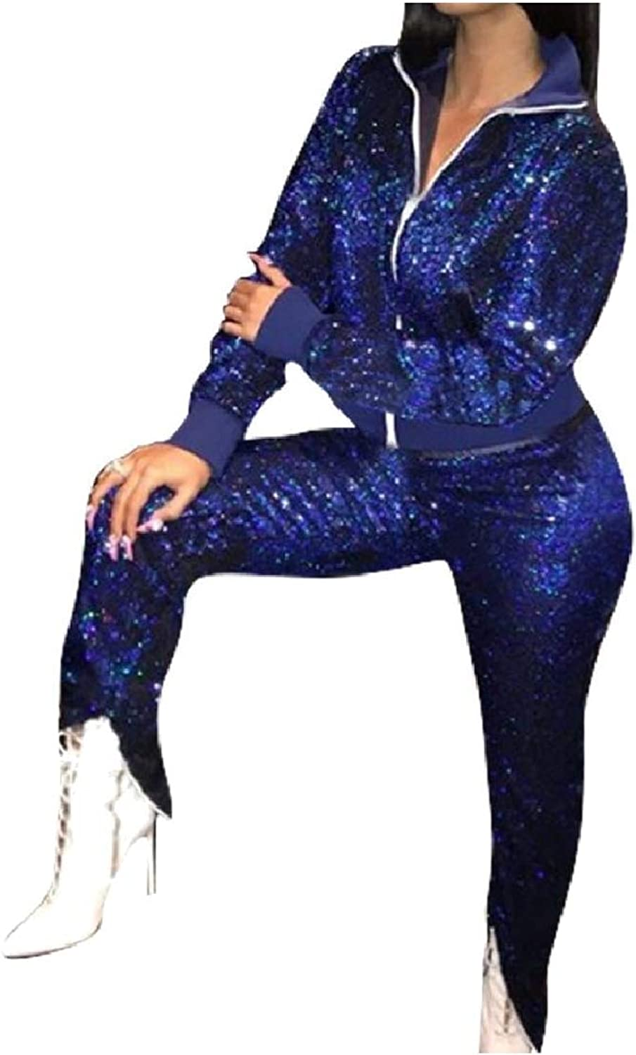 Energy Womens with Zips Sexy Long-Sleeve Sequin Top Jacket Pants 2 Piece Suit Set Outfits