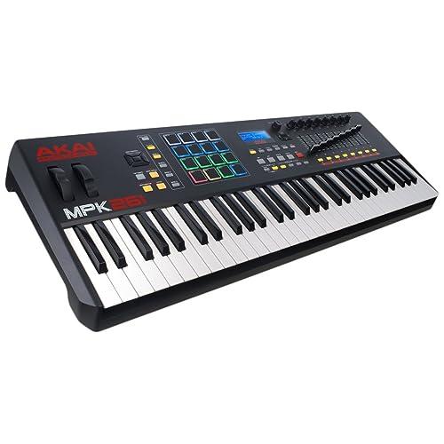 AKAI Professional MPK261 Clavier Maître MIDI avec 61 Touches Semi-Lestées avec les Contrôles Essentiels des Stations MPC avec VIP 3 et Pack de Logiciels Inclus, Noir