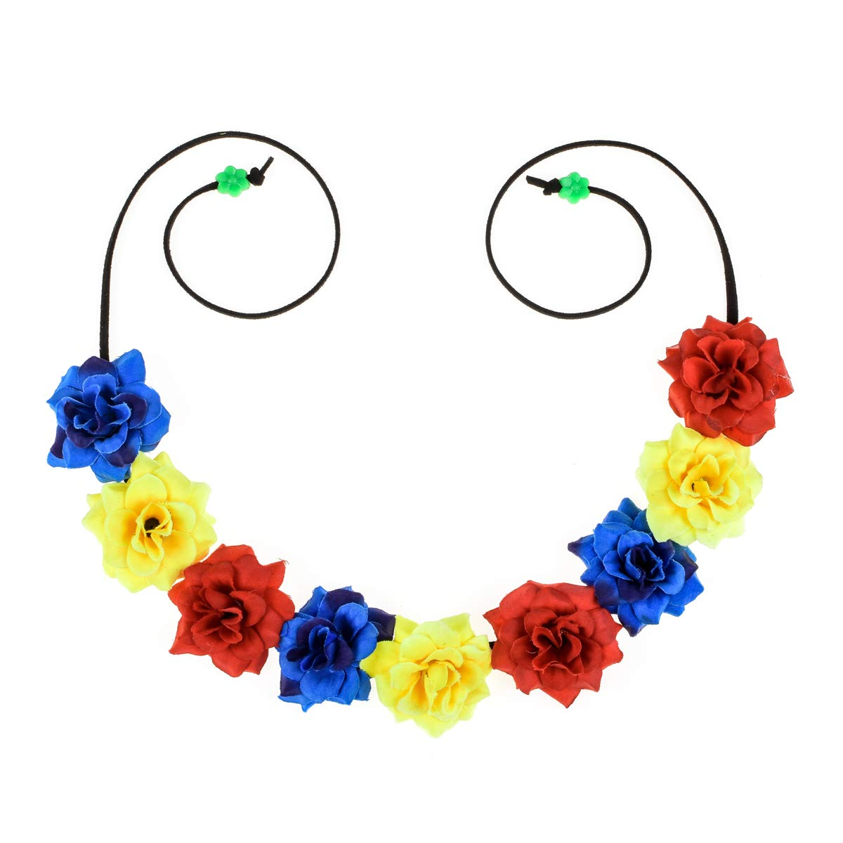 June Bloomy Women Rose Floral Crown BOHO Flower Headband Hair Wreath (Style B Red Yellow Blue)
