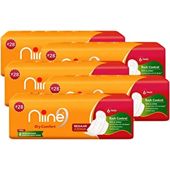 Niine Regular Sanitary Pads for women (Pack of 5), With disposable bags inside, 30 Pads Count