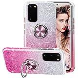 Funda para Samsung Galaxy S20 FE, Gradiente Glitter Brillante Carcasa y Soporte Magnético de Anillo Protección 3-in-1 de Cubierta PC Dura Suave TPU Gel Anti-Choque Anti-arañazos Case - Rosa Gradiente