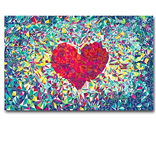 chthsx Red Love Heart Ölgemälde drucken Wandkunst für Wohnzimmer Canva Malerei Poster und DruckeHome Decor Moderne Dekoration -60x80cm Kein Rahmen