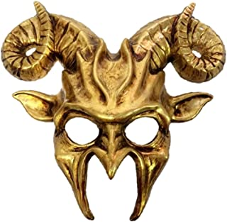 Gold Goat Half Mask Horn Adult Mens Animal Ram Venetian Costume Accessory