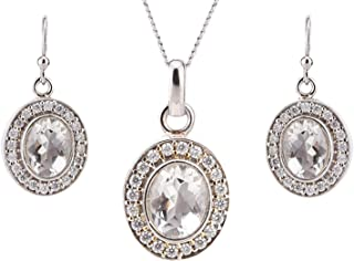 Ananth Jewels 925 Sterling Silver Pendant Necklace Earrings Set Adorned with Stones