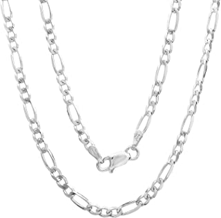 """Authentic Solid Sterling Silver Figaro Link .925 ITProLux Necklace Chains 2MM 3MM 4MM 5MM 6MM 7MM 7.5MM 8.5MM 10.5MM, 16"""" - 30"""", Made In Italy, Men & Women, Next Level Jewelry"""